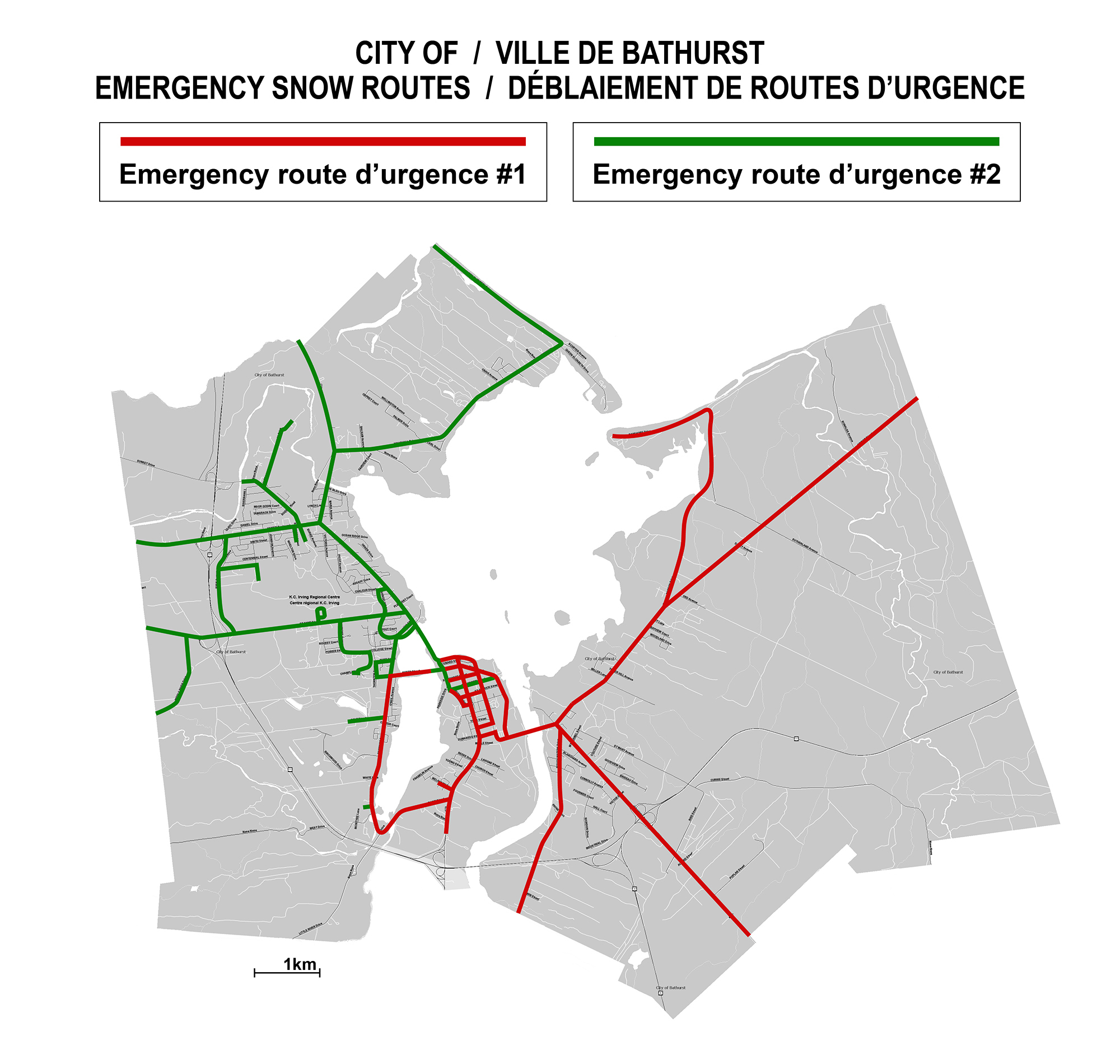 City of Bathurst Snow Removal Map